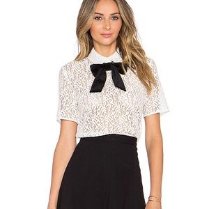 🖤The Kooples Lace Collared Cream Top 1 S
